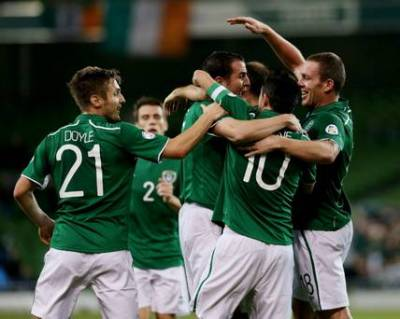 Republic of Ireland team celebrate